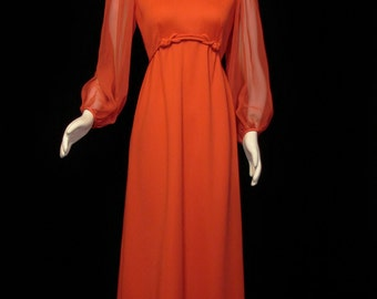 Dress - Long - RED - Circa 1960's