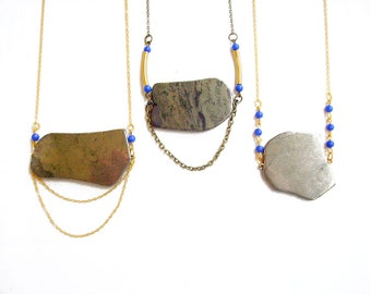 Pyrite Statement Necklace, Long Pendant Necklace, Semiprecious Stone Necklace - Treasure Island Collection