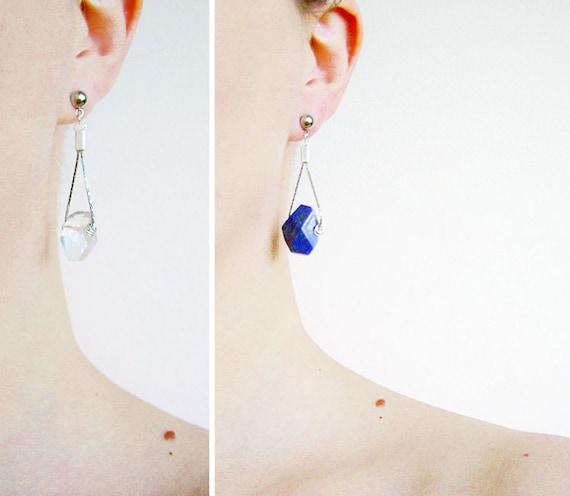 Blue Lapis Earrings, Crystal Quartz Earrings, Lapis Lazuli or Clear Quartz Earrings  - Treasure Island Collection