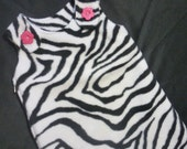 Maryjane Sleep Sack 0-6months - Zebra with Bright Pink Flower Buttons