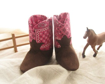 Pink Handkerchief Baby Cowgirl Boots A Soft Soled Baby Shoe