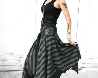 WITCHY BLACK STRIPED long black and dark gray maxi skirt