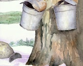 Westhampton Sap Buckets - Open edition print of an original watercolor (fits 11x14 frame)