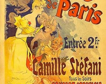 """New  Fine Art Giclée Reproduction Vintage French Advertising Poster """"Casino de Paris. Camille Stéfani. Concert-spectacle bal"""" c1891"""
