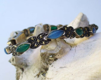 Vintage Marcasite Bracelet Sterling Silver With Jade Green and Sapphire Blue Stones