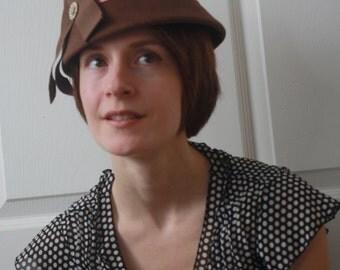 Vintage Brown Hat Casual Cute Felt Midcentury