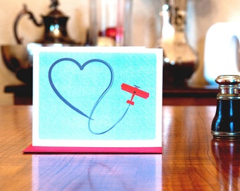 Paperback Skywriter - Biplane with Heart Skywriting I Love You Card - 100% Recycled Paper