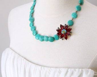 Seads of Summer, Turquoise and Red AB Necklace. Made from a Vintage Rhinestone Earring.