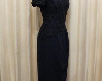 Vintage Aurelie Made in Australia Navy Formal Lace Off The Shoulder Mother of the Bride Dress