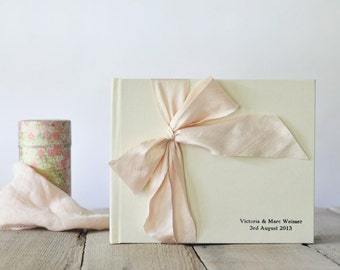 Silk Wedding Guest Book - Silk Dupioni Bow by Claire Magnolia