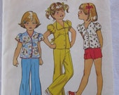 vintage SIMPLICITY 6419 sewing pattern-- Child's bell bottom pants or shorts and top (size 6)--1974