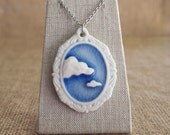 Porcleian Pendant, Ceramic Jewelry Cloud 9 Blue Sky Cameo by Mrs Peterson Pottery