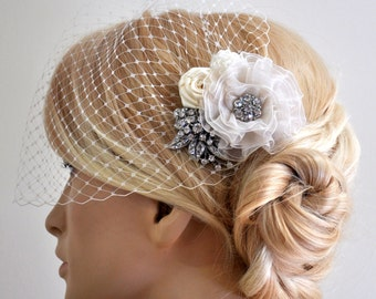 Birdcage Veil (Bandeau style) set with hair  Fascinator (2 Items) , Hair Accessory,wedding veil, Bridal hair piece ,