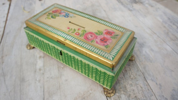 vintage shabby chic tin box made in western germany. Black Bedroom Furniture Sets. Home Design Ideas