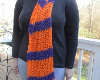 Clemson University colors, Clemson football, collage football, Football, clemson scarf, clemson tigers, orange, purple, FREE SHIPPING!