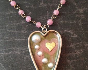 Victorian Pearls in a Heart Necklace