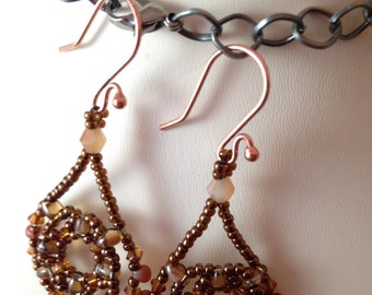 Copper and Topaz Swarovski Crystal Chandelier Earrings