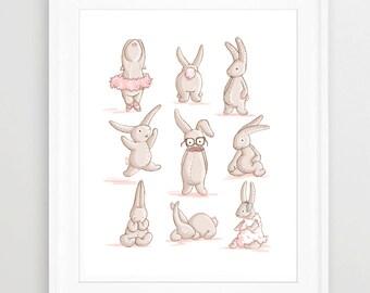 Children ART, NURSERY decor, Bunny, Girl Nursery, Pink, CUTE, Illustrated Print, Pastel