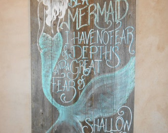 Mermaid Sign, MADE TO ORDER Hand Painted Original, Glittered, Beach 4 foot Barnwood I must be a