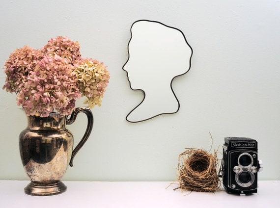 Cameo Bust Mirror / Handmade Wall Mirror Silhouette Outline Custom Female Profile