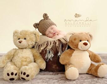 Newborn photo prop, newborn hat, newborn boy, newborn girl, newborn props, newborn bear hat, newborn bear prop, Newborn hat with ears