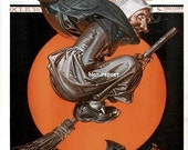 Halloween Witch 1923 Saturday Evening Post Cover Instant Download Digital Art Image, Printable Image,