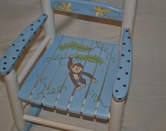 Kids Rocking Chair Boys Monkey with Bananas - Baby Shower Gift, Nursery Furniture, Painted Child Chair, Baby Gift