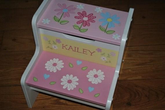 Kids Personalized 2 Step Stool PB Daisy Garden