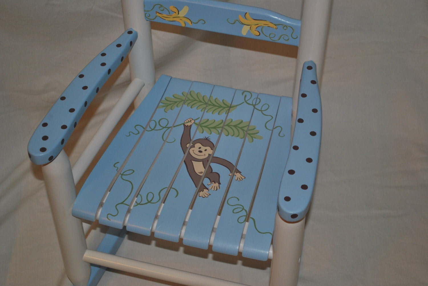 Kids rocking chair boys monkey with bananas baby by onmyown14 for Kids chairs for boys