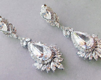 Stunning Crystal Chandelier Earrings, Cubic Zirconia Earrings, Bridal Earrings, Vintage Style - FIONA