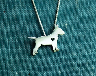 Bull Terrier necklace, sterling silver hand cut pendant with heart, tiny dog breed jewelry