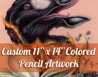"Custom Large Colored Pencil Illustration - Original Artwork, Traditional Art, 11""x14"""