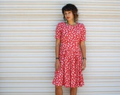 1980s cherry red dress // sweet summer strawberry dress