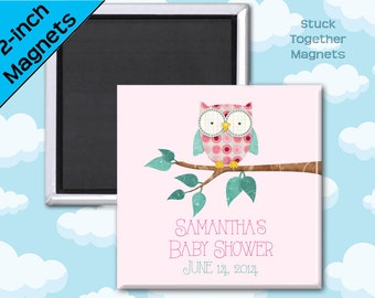 Pink Owl Baby Shower Favor Magnets - 2 Inch Squares - Set of 10 Magnets