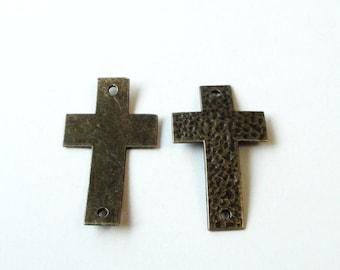 Brass Cross Connector - Hammered Cross Curver - Sideways Bracelet Link - Cross Charm Pewter (4) Pcs - 49mmx29mm - Jewelry Findings Supplies