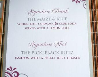 Wedding Drink Signs / Marsala and Silver / Signature Drink Sign / Flourish Design