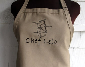 Personalized Chef Apron for Man - Embroidered with Pots and Pans