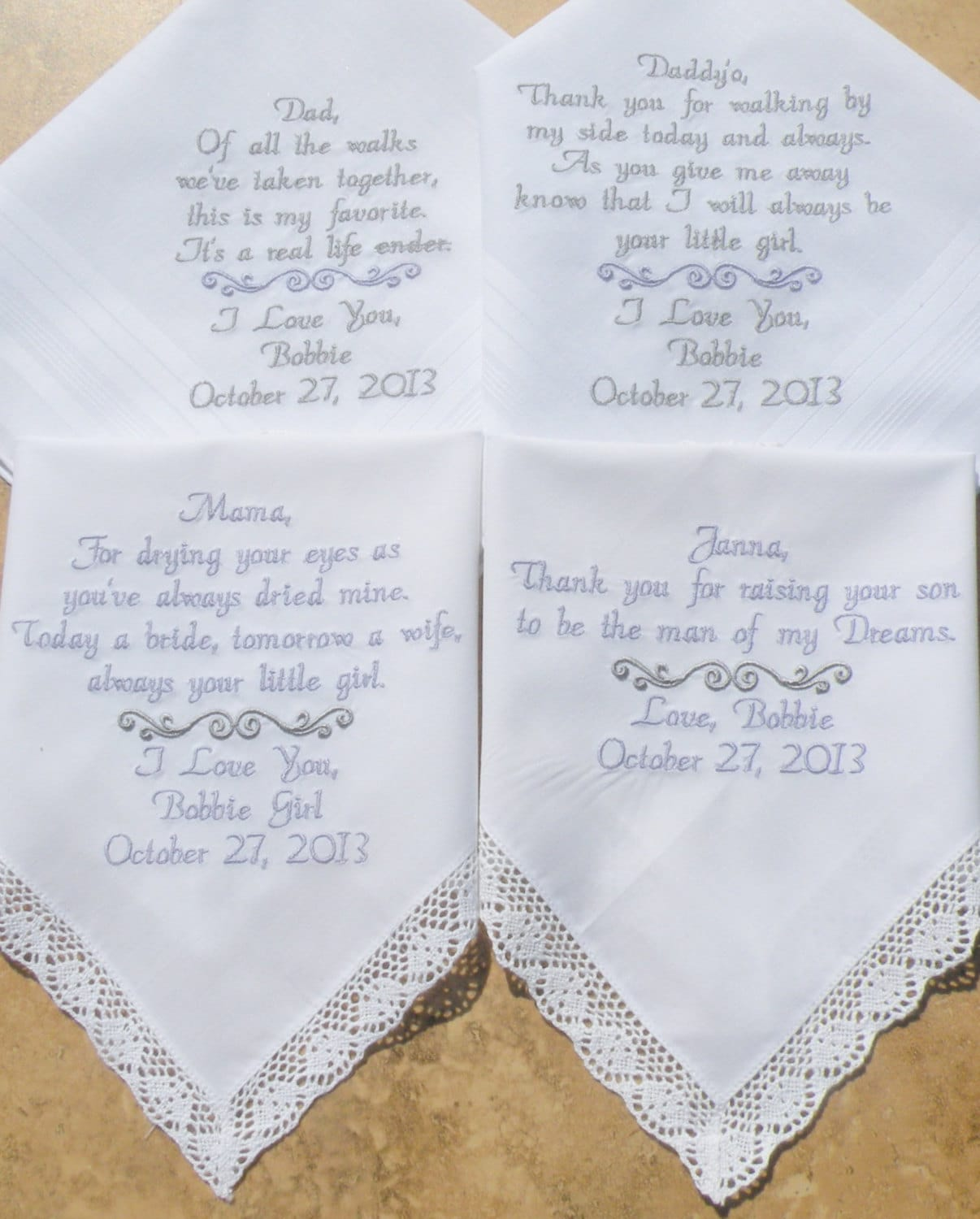Embroidered Wedding Handkerchiefs Mother And Father Of The
