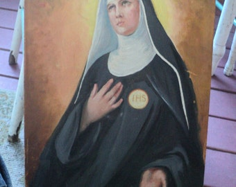 Vintage Oil Painting of a Nun Shabby Chic
