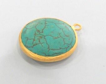30 mm.Turquoise  Pendants , Gold Plated  Bezel    G884