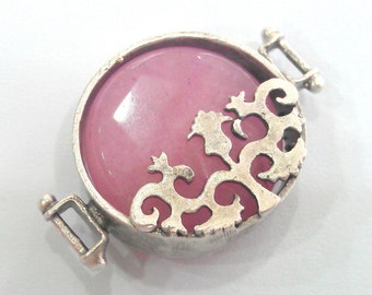 22 mm Light Pink Connectors , Antique Silver Plated Brass  Bezels G1196