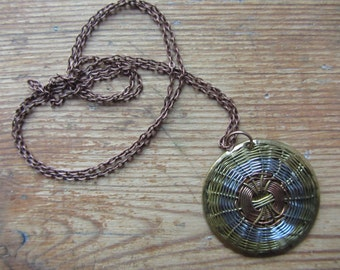 RESERVED Woven Wire Pendant, Copper and Brass Wire Pendant Necklace, Vintage Soviet, Lithuanian Jewelry, Steampunk Mixed Metal Pendant