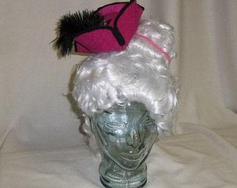 Pirate Hat Fascinator- Fuchsia Pink and Black Mini Tricorn Hat