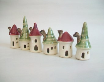 Christmas Mini Houses - Red and Green  - Set of 6 - Handmade, Wheel Thrown -Ready to ship
