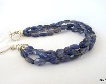 Multi strand bracelet, exotic blue iolite three strand bracelet, fine jewelry gift for her