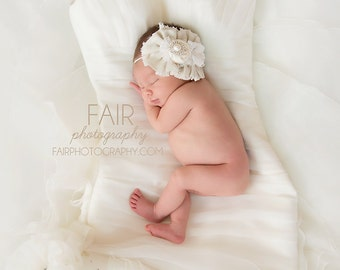 Linen and Lace- linen and cotton rosette  with lace and pearl headband bow