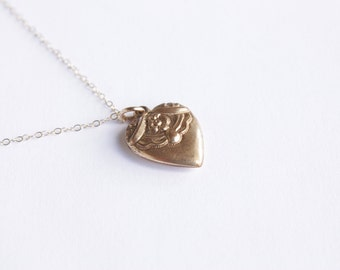 Antique Victorian Puffed Heart Charm With Monogram BP c.1900