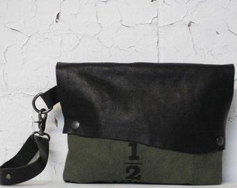 Army Green Clutch / Black Leather Wristlet Bag /  Canvas Handbags / Leather Purse