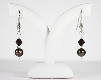 "Pearl and glass silver earrings ""Shot of espresso"""