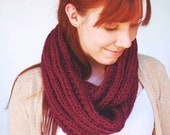 Hand Knit Burgundy Ribbed Infinity Scarf